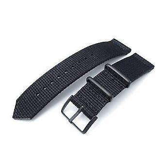 Correa de reloj de tela Strapcode 20mm, 22mm dos piezas ww2 g10 negro 3d nylon, pvd hebilla negra