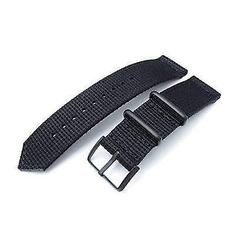 Strapcode fabric watch strap 20mm, 22mm two piece ww2 g10 black 3d nylon, pvd black buckle