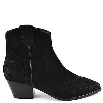 Ash HARLOW Brushed Black Suede Boots
