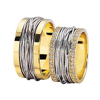 Bicolor braided wedding rings