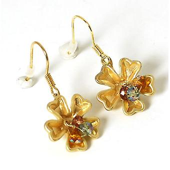 Peace of Mind Goldtone Flower Drop Earrings with Multi-Coloured Glass Beads