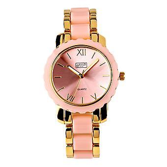 Eton Womens Fashion Watch, Pink Plastic Link / Gold Tone Bracelet -3176J-PK