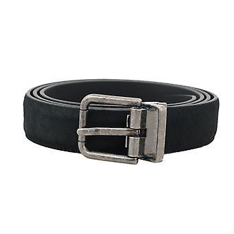 Black leather fur silver buckle belt