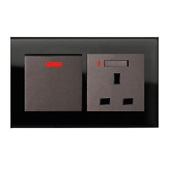 Jag LumoS som lyx svart kristall glas dubbel 20A Switch med växlade Neon 13A UK-uttag