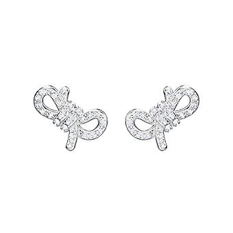 Swarovski Ohrringe Lebenslange Schleife - weiß - Rhodio Plating