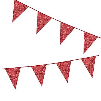Flaggirlang | Vimpelgirlang | Vimpel Röd med Glitter - 6 m.