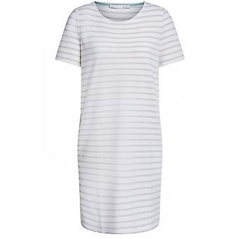 Oui Weiß & Creme Streifen Jersey Kleid