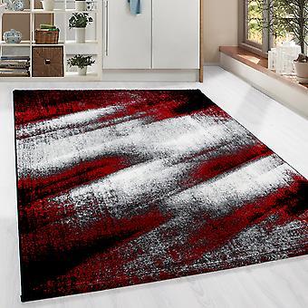 ShortFlor Designer Rug Shadow Pattern Living Room Carpet Red Black Melted
