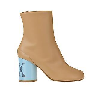 Maison Margiela Ezgl038116 Women's Beige Leather Ankle Boots