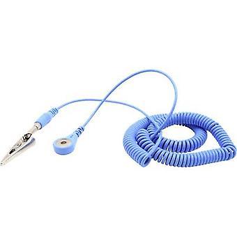 Quadrios ESD earth cable 3.60 m 4 mm stud and socket, Plug, Alligator clip