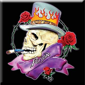 Poison Fridge Magnet band logo Skull new Official 76mm x 76mm
