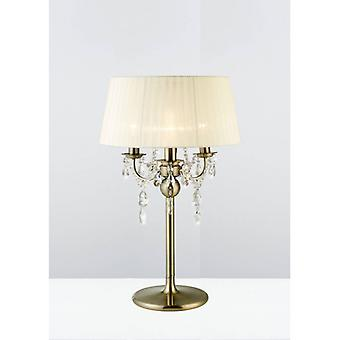 Olivia Table Lamp With Cream Lampshade 3 Bulbs Antique Brass / Crystal