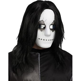 Industriella Mask W/hår Blk/Wht för Halloween