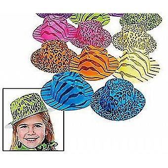 12 Neon Animal Print Gangster or Safari Hats