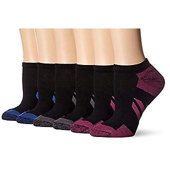 أساسيات المرأة 6 حزمة أداء القطن خففت الرياضية لا تظهر الجوارب، أسود، حجم الأحذية: 8-12