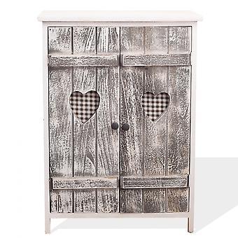 Rebecca Furniture Comodino Mobiletto 2 Ante White Wood Grey Shabby 70x51x30