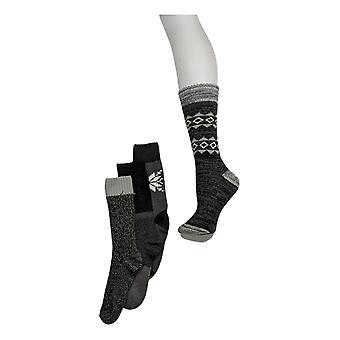 MUK LUKS Women's Printed Cozy Lined Set of 4 Socks Black