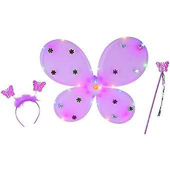 Schmetterling Set LED 3tlg.  (inkl. Batterien) Kinderset Mädchen Butterfly