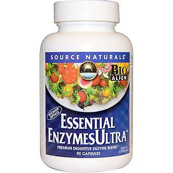Fuente Naturales, Enzimas Esenciales Ultra, 90 Cápsulas