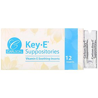 Carlson Labs, Key-E Suppositories, 12 Inserts
