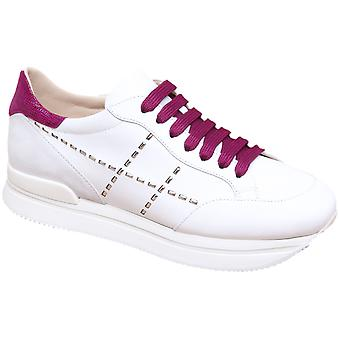 Hogan Women's fashion wedges sneakers in white leather with fuchsia laces and details