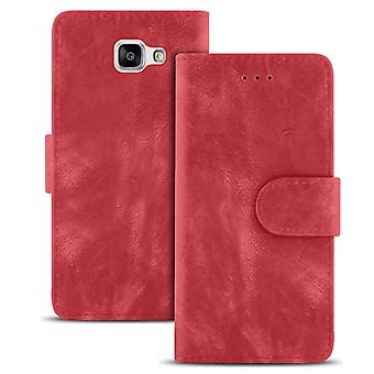 Vintage Wallet for Samsung Galaxy A5 (2016) A510 Leatherette Navy Magnetic Lock Red
