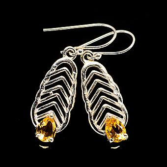 "Faceted Citrine Earrings 1 5/8"" (925 Sterling Silver)  - Handmade Boho Vintage Jewelry EARR404155"