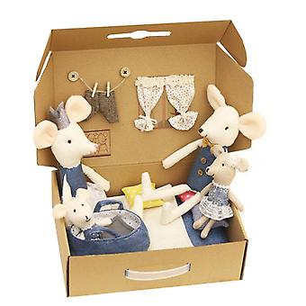 The Mouse Family Mini Peluche Doll House Cute Mouse Doll Box Toys