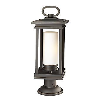 1 Light Large Outdoor Pedestal Light Bronze IP44, E27