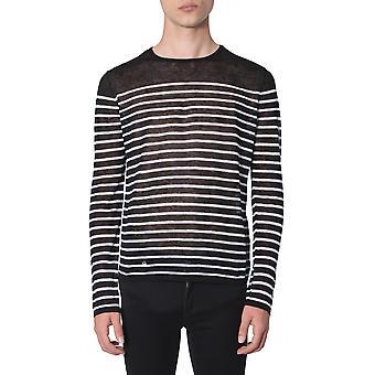 Saint Laurent 586922ya2ot1095 Men's Suéter de linho branco/preto