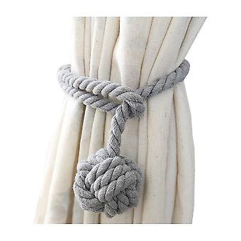 A Pair of Cotton Rope Curtain Tieback with Single Ball Grey