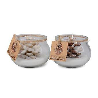 Lichte Kegel in glaspot bruin/wit 2-pak