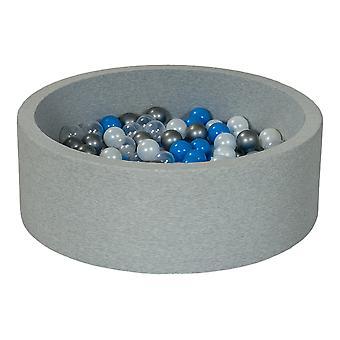 Poço de bola 90 cm com 150 bolas mãe de pérola, transparente, azul e prata