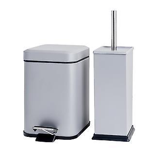 Quadratisches Badezimmer Pedalbehälter (3 Liter) & Toilettenbürste Set - grau