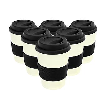 Reusable Coffee Cups - Bamboo Fibre Travel Mugs with Silicone Lid, Sleeve - 350ml (12oz) - Black - Pack of 6