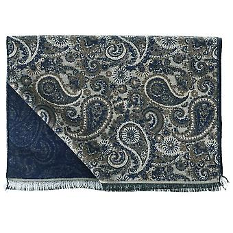 Ties Planet Tresanti Brown, Ivory & Navy Blue Paisley Motifed Double Face Scarf
