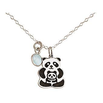 GEMSHINE halskjede PANDA anheng 925 sølv, gullbelagt, rose - CHALCEDON