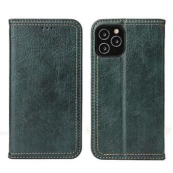 Para iPhone 12 Pro/12 Case PU Leather Wallet Capa protetora Kickstand Verde