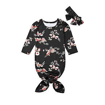 حديثي الولادة الفتيات / الأولاد Nightgowns ملابس النوم حقيبة النوم + عصابة الرأس (أسود 6M)