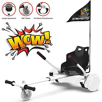 CitySport HoverKart for All Size Hoverboards with Flag-White