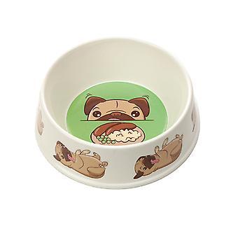 Puckator Bamboo Pet Bowl Mopps Pug Small BAMB108