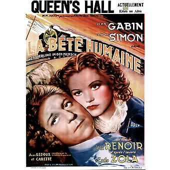 La Bete Humaine French Poster From Left Jean Gabin Simone Simon 1938 Movie Poster Masterprint