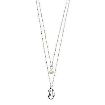Anfänge 925 Sterling Silber Damen' Doppel Kette Muschel und Süßwasser Perle Charm Halskette 42-47cm