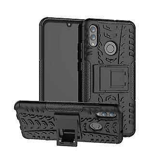 Reifen Textur TPU + PC Stoßfeste Fall für Huawei Honor 10 Lite / P Smart (2019), mit Halter(Schwarz)