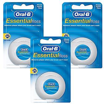 3 x 50ml Oral B Dental Floss Waxed Mint 50m Clean Teeth Shread Resistant