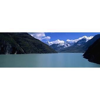 Bjerg på lakeside Grande Dixence Dam Valais Canton Schweiz plakat Print