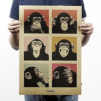 Gorilla Bar Counter Koristelu Vintage Kraft Paperi Juliste