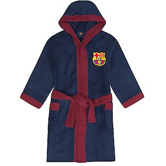 FC Barcelona Official Football Gift Mens Hooded Fleece Dressing Gown Robe