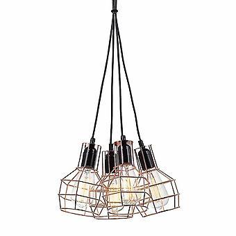 Industriële en retro opknoping hanghanger Zwart, Koper 4 Licht met draadschaduw, E27