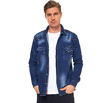 Men Jeans Long Sleeve Casual Shirt Destroyed Denim Patches Press Button Slim Fit